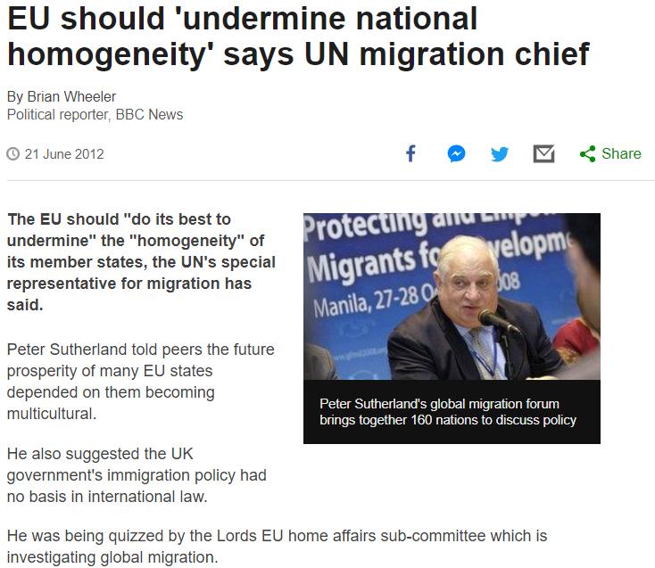 """L'UE devrait """" saper l'homogénéité nationale  - immigration massive"""