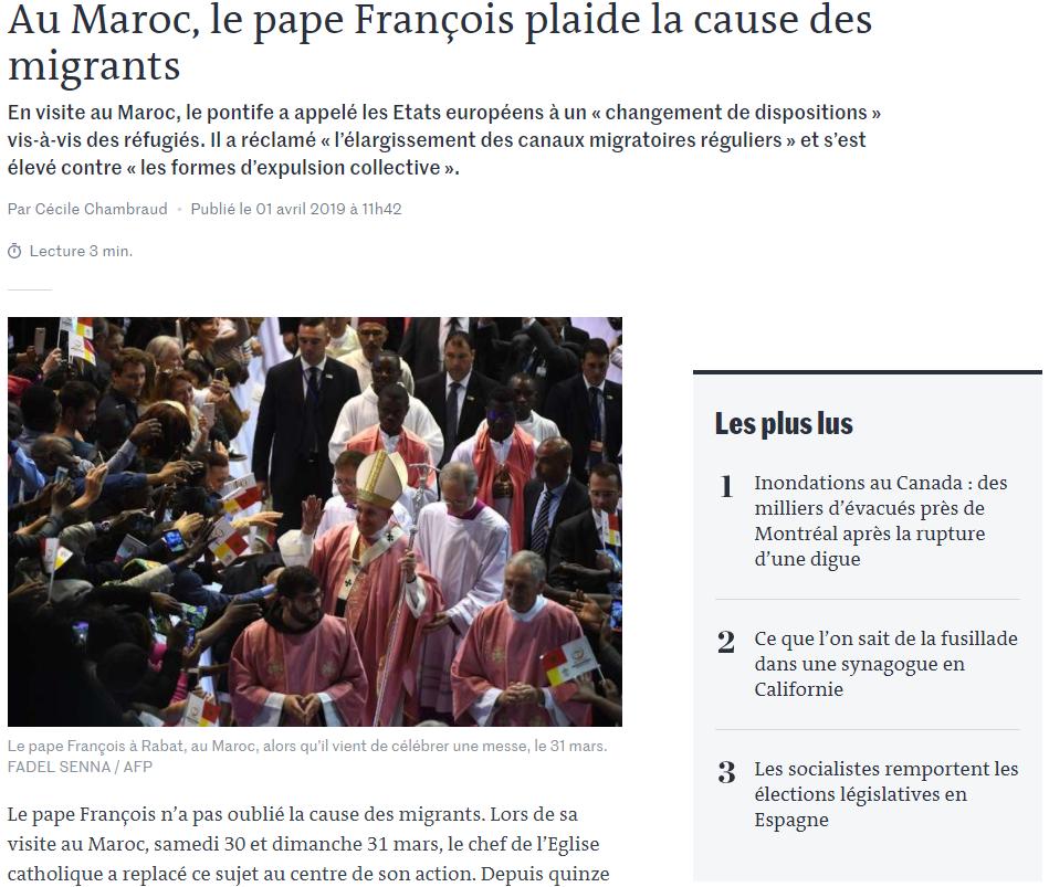 Le pape François et l'Islam