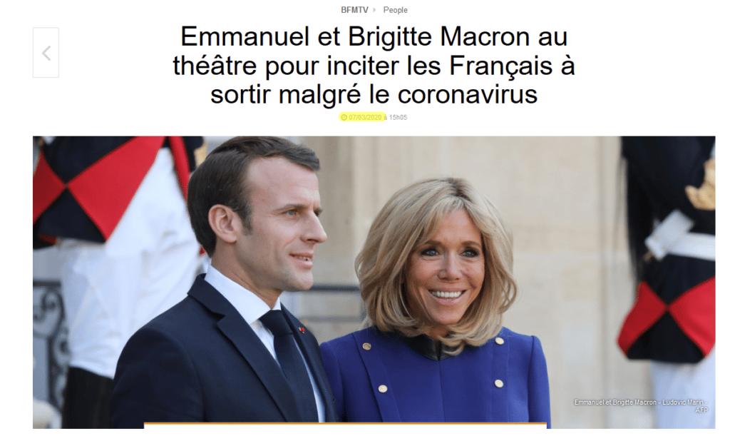 Macron au théatre pour inciter les gens à sortir en plein crise du coronavirus