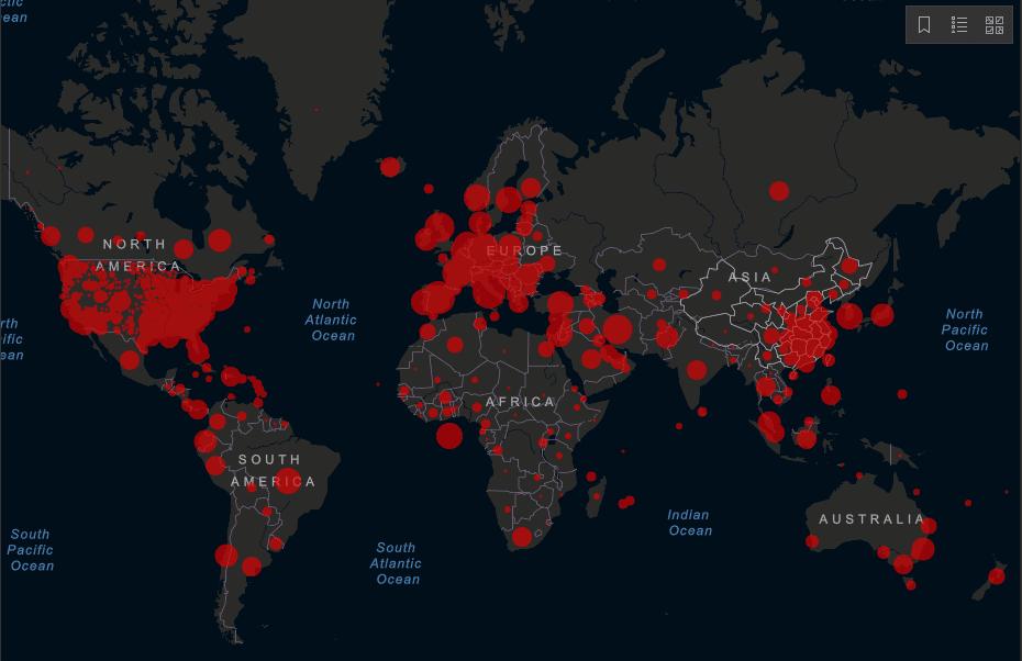 Carte mondiale du Coronavirus